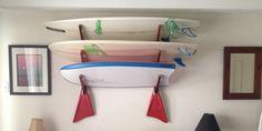triple surfboard wood wall storage rack