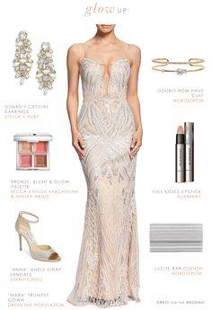 This sophisticated formal outfit features a sparkly long gown for a formal event. This blush and platinum beaded gown with plunge neckline, is paired with platinum accessories. Metallic Bridesmaid Dresses, Bridesmaid Dresses Under 100, Metallic Dress, Event Dresses, Wedding Dresses, Prom Dresses, Wedding Outfits, Wedding Attire, Black Tie Attire
