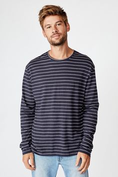 Navy And White, Men Sweater, Crew Neck, Tees, Long Sleeve, Sleeves, Sweaters, Mens Tops, Cotton