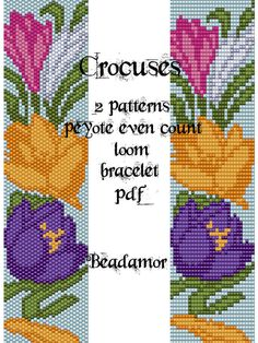 2 Patterns for bracelet peyote and loom : Crocuses от Beadamor