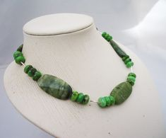 Green Gemstone Necklace, Green Jade Necklace, Green Chunky Necklace, Handmade Ge £29.00 Jade Necklace, Gemstone Necklace, Green Gemstones, Jade Beads, Jade Green, Beautiful Necklaces, Silver Plate, Jewelry, Jewlery