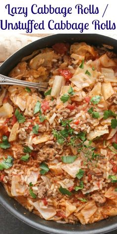Lazy cabbage rolls, also known as unstuffed cabbage rolls, this one skillet healthy,delicious comfort food recipe is fast and easy.  The perfect weeknight/weekend meal.|anitalianinmykitchen.com