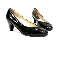 Black patent leather vintage shoes pumps 5.5 35.5 Felice
