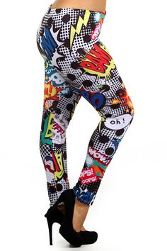 Pop Art Explosion Plus Size Leggings | OnlyLeggings.com - Leggings Superstore