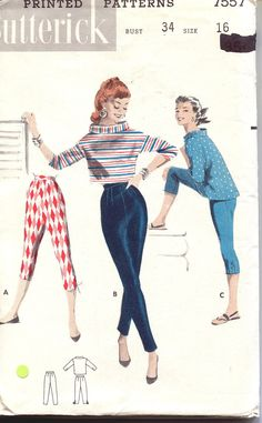 Butterick 7557 1950s Pattern Mod Top Cigarette Pants Laced Leggings Tight Capris Bust 34 Size 16 UNCUT FACTORY FOLDED. $47.00, via Etsy.