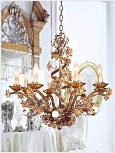 Murano chandelier with bohemian crystal love