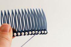 Day Pearl Combs - a diy hair accessory - Flax & Twine Bow Tie Tutorial, Purl Soho, Diy Hair Accessories, Diy Hairstyles, Twine, Headbands, Hair Accessory, Pretty, Hair Combs