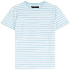 Marc by Marc Jacobs Striped Cotton T-Shirt ($130) ❤ liked on Polyvore featuring tops, t-shirts, shirts, stripes, white stripes shirt, stripe shirt, cotton shirts, stripe t shirt and round neck t shirt