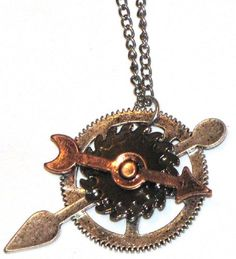 Arrow & Clock Gear Steampunk Necklace Silver Tone | Steampunk Vape Mod