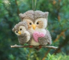 Needle Felted Owl Ornament - Family of Two, $27.00. These are so sweet. I have couple & they were greatly loved.