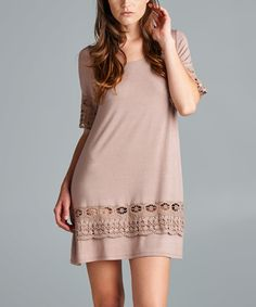 Look what I found on #zulily! Beige Crochet Scoop Neck Tunic by Emerald Fashion #zulilyfinds