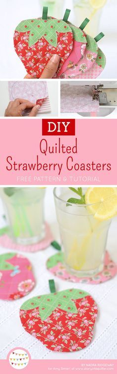 Quilted Strawberry Coasters - Free Pattern & Tutorial from Nadra of Ellis & Higgs