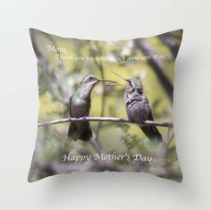 Thanks Mom! ~ Hummingbird Pillow ~ Mother's Day Gift for Her ~ Mom Gift ~ Nature Photo Pillow ~ Bird Pillow ~ Baby Animal Print ~ Thank You Gift ~ Nature Decor by #NancyJsLifestyle