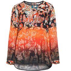 Aprico Black / Orange Plus Size Floral print tunic ($52) ❤ liked on Polyvore featuring tops, tunics, black, plus size, womens plus tunics, long slit top, plus size tunics, plus size tops and floral tops