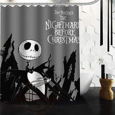 Nightmare Before Christmas Jack Skellington Theme Black and White Shower Curtain