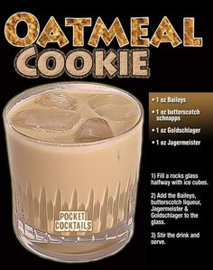 Liquor Drinks, Cocktail Drinks, Cocktail Recipes, Alcoholic Drinks, Desserts In A Glass, Shot Recipes, Alcohol Drink Recipes, Classic Cocktails, Oatmeal Cookies
