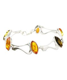 """Love this Amber & Sterling Silver Modern Marquise Bracelet on #zulily! #zulilyfinds""""A man that hath friends must shew himself friendly: and there is a friend that sticketh closer than a brother."""""""