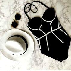 $16.30 (Buy here: https://alitems.com/g/1e8d114494ebda23ff8b16525dc3e8/?i=5&ulp=https%3A%2F%2Fwww.aliexpress.com%2Fitem%2FFashion-Hot-New-Black-Sexy-Bikini-Women-Swimwear-Occidental-Bathing-Swimsuit-Casual-printing-push-up-One%2F32585028526.html ) 2016 retro Neoprene cheap sexy One Piece Swimsuit push up halter Black Women bathing suits Swimwear Vintage One Piece Swimsuit for just $16.30