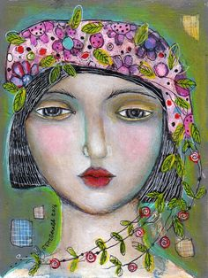 painting mixed media 6x8 paper face woman flowers summer hat by kittyjujube on Etsy