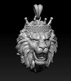 lion necklace with crown 3d model stl 3dm 1