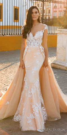crystal design 2017 bridal cap sleeves deep sweetheart neckline heavily embellished bodice elegant blush fit and flare wedding dress sheer back long train (fiona) mv