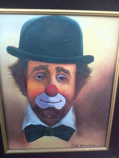 Vintage Clown Picture, Wall Hanging, Clowning Around, Canvas Painting, Art, Wall Art by MaggieBleus on Etsy
