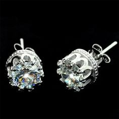 Pure Silver Transparent Crown Studs for only $19.90 ,cheap Earrings Studs - Jewelry&Accessories online shopping,The details include: a round transparent set in the centre, crafted in pure silver steel and a secure butterfly back fastening.Size 6 mm x 6 mm approx.