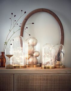 Arrange a delicate, battery powered light chain inside a decorative glass dome, and display it alongside other glass domes filled ornaments. French Home Decor, Cute Home Decor, Indian Home Decor, Home Decor Items, Home Decor Accessories, Cheap Home Decor, Interior House Colors, Home Remodeling Diy, Minimalist Home Interior