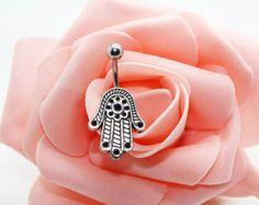 Belly button ring, Hamsa belly ring,Hamsa belly button jewelry