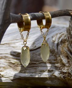 Faceted Citrine Quartz Gauged Earrings | Hanging Magnetic Clasp Ear Gauges | Handmade Hanging Plug Earrings