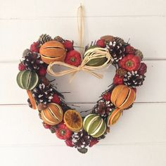 Festive Dried Fruit Christmas Willow Heart Wreath Whole Green Limes Orange Slices Red Peppers with Scented Christmas Fragrance Advent Circle