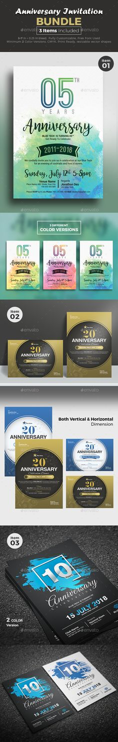 Anniversary Invitation Bundle -3 IN 1 Corporate Anniversary Invitation Template Bundle -  40% OFF - Download NOW https://graphicriver.net/item/anniversary-invitation/18351427?ref=themedevisers