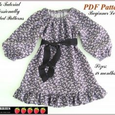Amelia Girls Sewing Peasant Dress Pattern, Easy to make