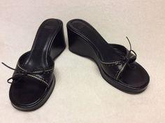 Black Leather Coach Wedge Sandals Size 7B | eBay