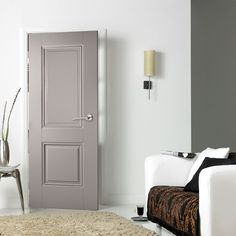 Grey Arnhem 1 Light Internal Door Internal Grey Primed Clear Glazed Arnhem Door Grey doors are fast becoming the popular choice, both charming and appealing but at the same time offering excellent value for money. Painted Interior Doors, Gray Interior, Painted Doors, Interior Barn Doors, Wooden Doors, 2 Panel Interior Door, Grey Internal Doors, Grey Doors, 2 Panel Doors