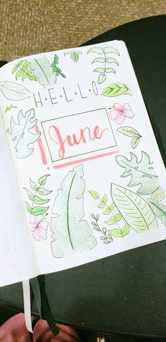 Cute june bullet journal lay out #tropical#summer#june#bulletjournal#flowers#pinkgreen
