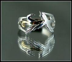 Uccello Phoenix argento e oro anello 14 Anello anello solido