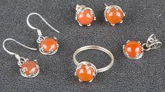Silber Schmucksets - 925 Sterling Silber Schmuck Karneol Set - ein Designerstück…