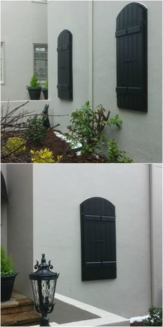 Gorgeous Black Exterior Shutters Are Striking On The White Stucco Exterior  And Really Add To This
