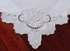 Cuore antico biancheria -Monogrammed Vintage francese lino pizzo tovaglioli di…