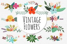 Vintage Flowers. VECTOR Files Floral Digital Clip by MrCatAvenue