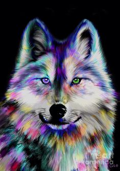 Art Painting - Rainbow Wolf by Nick Gustafson Anime Wolf, Wolf Tattoos, Tattoos Of Wolves, Galaxy Wolf, Wolf Spirit Animal, Wolf Artwork, Wolf Painting, Fantasy Wolf, Wolf Wallpaper