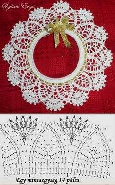 from Asahi Original Crochet Lace Cafe 2014 - Salvabrani - Salvabrani What a beautiful Christmas wreath - Salvabrani crochet patterns in thread Crochet Collar Pattern, Col Crochet, Crochet Angels, Crochet Lace Edging, Crochet Chart, Thread Crochet, Crochet Gifts, Crochet Doilies, Free Crochet