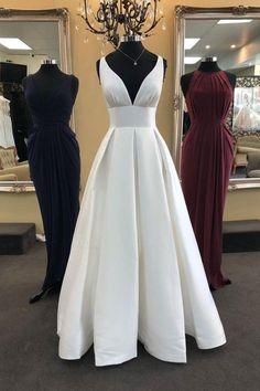 White v neck satin long prom dress, white evening dress . White v neck satin long prom dress, white evening dress Gallery Ideas] Gold Prom Dresses, V Neck Prom Dresses, Prom Dresses For Sale, Long Wedding Dresses, Wedding Gowns, Bridesmaid Dresses, Dresses With Sleeves, Party Dresses, Backless Wedding
