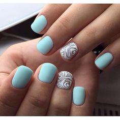 Blue and white nails, Blue matte nails, Bright manicure on short nails, Bright summer nails, Drawings on nails, flower nail art, Matte nails, Original nails