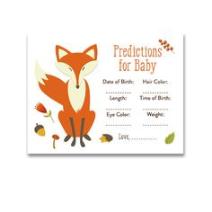 Baby Shower Woodland Fox Forest Baby Animals - Activity Predictions for Baby - Instant Download Printable