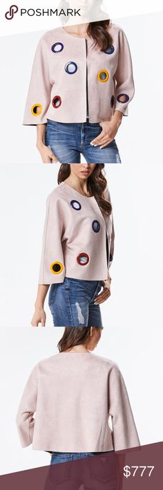 FALL 2017PINK STATEMENT JACKET BOUTIQUE ITEM   DUSTY PINK faux suede jacket with fabulous mutli color eyelets. A must have for your fall wardrobe! This jacket is chic yet playful!! Pair over a dress with heels, with jeans and a top or leggings and an oversize sweater. You will LOVE this jacket  100% polyester MODA ME COUTURE Jackets & Coats