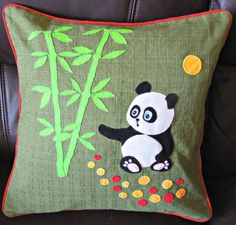 "Handmade applique decorative cushion cover ""Panda and Bamboo"""