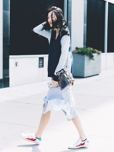 8 Outfits for Looking Super Stylish in Sneakers This Summer via @WhoWhatWear