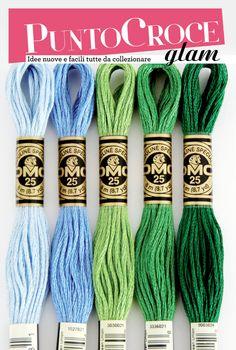 Toni verdi e azzurri - matassine Dmc - Punto croce Glam